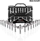 Fräser Set, TACKLIFE 19tlg. Oberfräser Set, 15tlg. Fräser mit 4tlg. Lager-Set und Inbusschlüssel, 8 mm Werkzeughalter, hergestellt von C3/ YG6X, Holzbearbeitungswerkzeuge für DIY - ARB03C