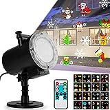 Weihnachten Projektorlampe, Qomolo IP65 LED Schneeflocke Projektor Projektionslampe Wandbeleuchtung UltraHelligkeit Wasserdichte mit 16 Muster und Fernbedienung für Halloween Weihnachten Ostern Party