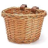 HILAND Kinderfahrrad-Lenkerkorb, Fahrradkorb-Aufhängekorb, geeignet für Jungen und Mädchen, Kinderfahrradzubehör, umweltfreundlicher handgefertigter Rattan-Korb