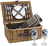 HappyPicnic Picknickkorb aus Weidengeflecht für 2 Personen mit Besteck Service Set, Vatermütter, Partys im Freien MEHRWEG