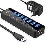 atolla USB Hub Aktiv 3.0 mit Netzteil, 7 Ports USB 3.0 Hub aktiver Datenhub mit Schalter und 1 Intelligenter Charging Port und 20W(5V/4A) Netzteil Adapter