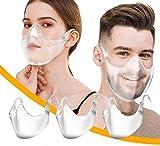 IDEAPARK 3 x Gesichtsschutz_Plexiglas - Waschbare Wiederverwendbare Mundschutz Kunststoff Transparent für Herren Damen Transparente Plastik Mundschutz Face_Shield Gesichtsschutz