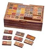 LOGOPLAY Domino Doppel 15 - Legespiel - Gesellschaftsspiel aus Holz mit 136 Spielsteinen