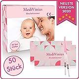 MediVinius 15x, 30x oder 50x Ovulationstest mit schnellem Ergebnis unter 10 Minuten I Zuverlässiger Fruchtbarkeitstest für Frauen I Fertility LH Test - 50 Stück