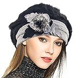 VECRY Damen Wolle Barette Angola Kleid Beanie Schädel Mützen Stricken Winter Hüte (Schwarz)