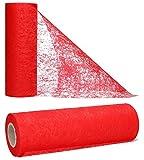 AmaCasa Vlies Tischband Tischläufer Flower Vlies Hochzeit Kommunion 15cm/20m Rolle (Rot, 15cm)