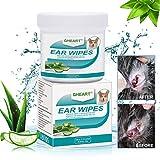 GHEART Ohren Reinigungspads für Hunde und Katzen, 100 Stück Ohren Pflegetücher für Hund, Milde Feuchttücher Ohrenreiniger, weiche Ohrenreinigungspads zum Entfernen von Ohrenschmutz & Wachs
