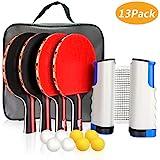 Xddias Instant Tischtennis-Set, 4 Tischtennisschläger/Schläger + Ausziehbare Tischtennisnetz + 8 Bälle, Ping Pong Set Spiel für Anfänger, Familien und Profis