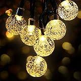 LED Lichterkette Außen Solar OMERIL Lichterkette mit 50er LED Kristallkugeln 8 Meter USB Lichterkette Innen für Garten, Bäume, Schlafzimmer, Kinderzimmer, Hochzeiten, Partys usw.
