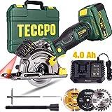Akku Handkreissäge, TECCPO 18V 4.0Ah Akku, 1 Std. Schnellladegerät, Laserführung, 3 Kreissägeblätter Ø89 mm, Handkoffer -TDMS23P