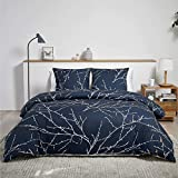 Bedsure Baumwolle Bettwäsche 155x220 cm Navy Blau/Beige Bettbezug Set mit schickem Zweige Muster, 3 teilig weiche Flauschige Bettbezüge mit Reißverschluss und 2 mal 80x80cm Kissenbezug
