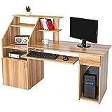 tectake 800731 Computertisch mit Tastaturauszug, PC Schreibtisch mit Ablage- und Verstaumöglichkeiten, großes Towerfach, Bürotisch mit Schrank und Schublade - diverse Farben - (Holzoptik | Nr. 401666)