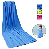 Kühlhandtuch Cooling Towel Cool Towel Kühlendes Handtuch Kühl Handtuch Kühltuch Set Bambus Kühltuch Golf Handtücher Microfaser Handtuch Strandhandtuch Fitness Handtuch 150 x 80cm blau