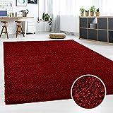 Hochflor Teppich   Shaggy Teppich fürs Wohnzimmer Modern & Flauschig   Läufer für Schlafzimmer, Esszimmer, Flur und Kinderzimmer   Langflor Carpet rot 060x090 cm