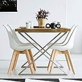 VADIM 4er Set Esszimmerstühle Skandinavischer Küchenstuhl in Weißen mit Massivholz Eiche Bein Kunstlederkissen, Design Modern Wohnzimmerstühle, Esszimmer Holzbeine Stühle, Bürostühle