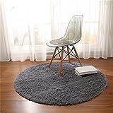 CAMAL Teppich, Runde Seide Wolle Material Yoga Teppich für Wohnzimmer Schlafzimmer und Bad (Grau, 120cm)