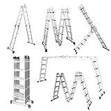 LARS360 5.5M Leiter Mehrzweckleiter Klappleiter Gelenkleiter mit Plattform 4x5 Sprossen Aluleiter Multifunktionsleiter Kombileiter 6 in 1 Anlegeleiter Stehleiter aus hochwertigem Alu belastbar