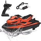 STOTOY RC-Boot, ferngesteuerte Rennboote für Pools und Seen, 10 km / h elektrisches Mini-Wasserfahrzeugboot für Kinder und Erwachsene mit 2,4 GHz, funkgesteuertes Wasserfahrzeugboot im Freien