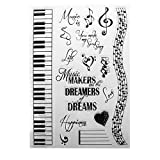 ECMQS Musik Träume DIY Transparente Briefmarke, Silikon Stempel Set, Clear Stamps, Schneiden Schablonen, Bastelei Scrapbooking-Werkzeug