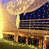 Led Lichtervorhang, Lichternetz 3x3m 300 Leds, IP44 Wasserfest Niederspannung 31V, 8 Modi Vorhang Lichterketten für Innen, Weihnachten, Kinderzimmer, Außen, Party, Hochzeit usw (Warmweiß, 6m x 3m)