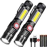 Taschenlampe LED Aufladbar, Magnet USB Taschenlampen (Mit 2 Pack 18650 Akku), Banral COB Arbeitsleuchte Zoom Extrem Hell Wasserdicht Taktische Taschenlampe Mit 4 Modi, für Outdoor Camping Notfall