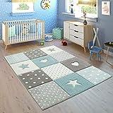 Paco Home Kinderteppich Kinderzimmer Kariert Punkte Herzen Sterne In Pastell Blau Grau, Grösse:120x170 cm