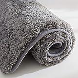 COSY HOMEER Badteppich aus 100% Polyester Extra weiche und rutschfeste Badezimmermatten, spezialisiert auf maschinenwaschbare und wasserabsorbierende (60x40 cm, Grey)