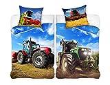 Familando Traktor Mähdrescher Bettwäsche-Set 135x200 cm + Kissen 80x80 cm Bauernhof Kinder-Bettwäsche Jungen 100% Baumwolle, Linon