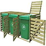 mewmewcat Outdoor Mülltonnenbox Mülltonnenverkleidung Mülltonnenschrank aus Imprägniertes Holz für 3 Tonnen