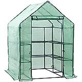 Display4top Foliengewächshaus begehbar 143 x 143 x 195cm, PE Gitterplane Treibhaus mit Anzucht, grün
