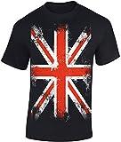 T-Shirt: Union Jack - England Flagge Shirt für Herren Damen Mann Männer Frau-en - Großbritannien UK United Kingdom Great Britain British Fussball Punk London Biker Vintage Fahne Geschenk-Idee (3XL)