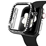 WASPO Bling Case Kompatibel mit Apple Watch Case 44mm, Bling Frame Built-In HD Ultra Thin Tempered Glass Screen Protector Kompatibel mit Apple Watch Case Series SE/6/5/4 (Schwarz)