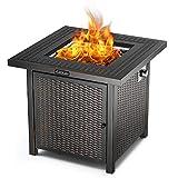 TACKLIFE 14.6KW Gas-Feuerstelle Tisch, 71cm×71cm×64cm, Stahloberfläche Outdoor-Feuertisch mit dauerhafter Abdeckung, EIN großer Partner für Ihre Familie, moderner Stil
