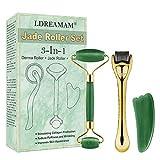 Jade Roller Gesicht,Jade Roller Massagegerät,Microneedle Derma Roller,3 in 1 Jade Gesichtsroller mit Gua Sha und Maskenpinsel, Gesichtsmassagegerät für Anti Aging,Muskel Entspannung