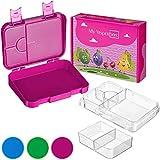 My Vesperbox – Bento Box Kinder - Lunchbox mit 4+2 Fächern - extrem robust und auslaufsicher – Brotdose – Brotbox ideal für Kindergarten und Schule (Lila)