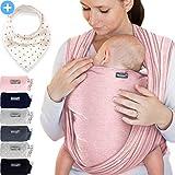Babytragetuch Rosa – hochwertiges Baby-Tragetuch für Neugeborene und Babys bis 15 kg - inkl. GRATIS Baby-Lätzchen