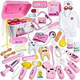 HERSITY 35 Stück Arztkoffer Kinder Doktor Set Rollenspiele Doktorkoffer Spielzeug Geschenke Spiele ab 3 Jahren Mädchen (Rosa)
