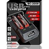 kraftmax BC-2000 USB Akku Ladegerät für 18650   26650   14500   16340   CR123   3,7V Lithium und Mignon AA   Micro AAA NIMH Akkus - Ideal zum Aufladen von Sony 18650 Pro Akkus Li-Ion Smart Charging