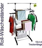 Made for us Wäscheständer rollbarer Wäschetrockner Handtuchhalter platzsparender Turmwäscheständer mit 13,4 Meter Trockenlänge