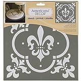 Deco Art Americana Dekor-Schablone, Fleur De Lis Fliese, Weiß