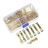 100 Stück Bildaufhänger mit 200 Schrauben - Aufhänger für Holzrahmen, Zackenaufhänger Bilderhaken für Keilrahmen, Hängehaken für Bilderrahmen - Gold