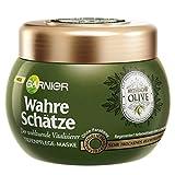 Garnier Wahre Schätze Mythische Olive Tiefenpflege-Maske, Haarkur mit Olivenöl, Haarpflege für trockenes Haar, 300ml