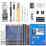 45 Stück Bleistift Zeichnen Set, Skizzierstifte Set und Zeichnen Professionelle Art Set mit Hochwertiger Malkoffer, Zeichnen für Anfänger, Künstler, Kinder