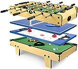 Leomark Multigame Mobile Spieltisch ~aus Holz ~Tischfußball, Billard, Hockey, Tischtennis 4in1, Multiplayer inkl. Zubehör