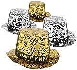 com-four 4X Silvester Partyhut - Zylinder Happy New Year für Silvester - Kopfbedeckung für Neujahrs-Party (Set07 - Zylinder)