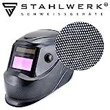 STAHLWERK ST-450RC Automatik Schweißhelm vollautomatisch abdunkelnd, einstellbare Parameter, inkl. 5 Ersatzscheiben, 7 Jahre GARANTIE auf FILTER, carbon