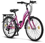 Licorne Bike Stella (Rosa) 24 Zoll Kinderfahrrad, CTB ab 135 cm, Fahrrad-Licht, Shimano 21 Gang-Schaltung, Damen-Citybike, Mädchen-Citybike, Mädchenfahrrad, geignet für 8,9,10,11, Mädchen, Fahrrad