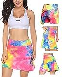 Damen Rock Kurz Culottes Tennisrock Yoga Skort mit Innenhose Taschen Sportrock für Frauen Mädchen Golf Sport