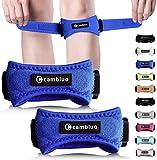 CAMBIVO 2 x Patella Kniebandage, Knieband, verstellbare Patella Band für Damen und Herren beim Sport, Wandern, Fitness, Volleyball (Blau)