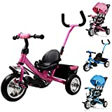 Dreirad Kinderdreirad Fahrrad Raceline Kinder Kleinkinder Baby | Sicherheitsgurt | abnehmbare Lenkstange | verstellbare Fußablage | blau